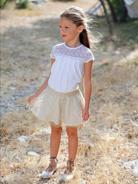 Girls' Reversible Skirt BEIGE MEDIUM SOLID - vertbaudet enfant