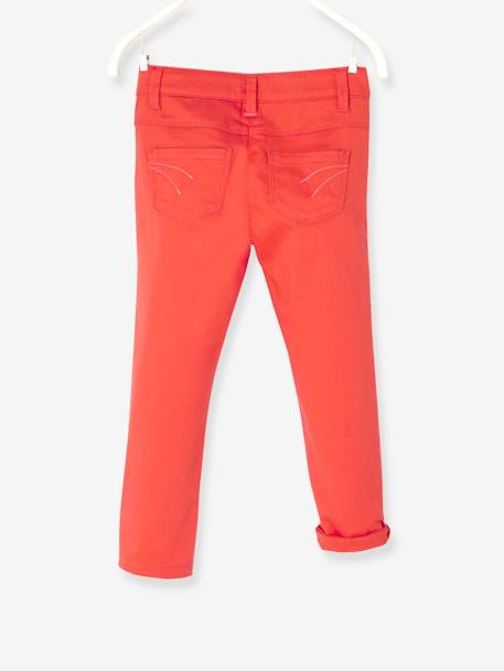 Girls' Stretch Cropped Trousers GREEN LIGHT SOLID+ORANGE BRIGHT SOLID+WHITE LIGHT SOLID - vertbaudet enfant