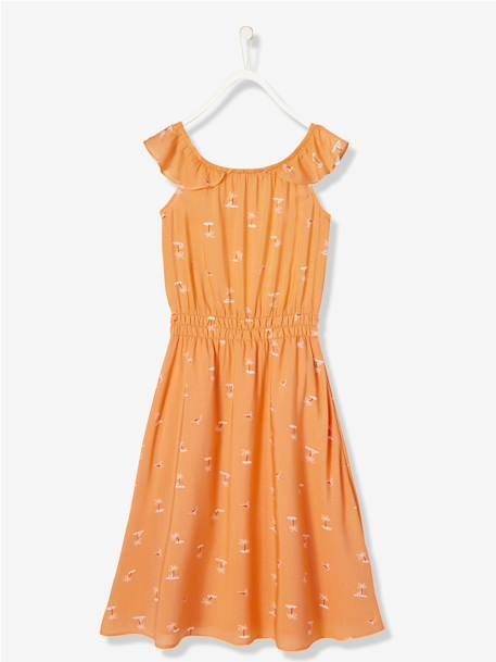 Girls' Long Printed Dress ORANGE MEDIUM ALL OVER PRINTED+WHITE LIGHT ALL OVER PRINTED - vertbaudet enfant