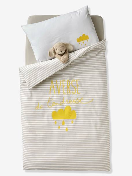 Baby Pillowcase, Shower of Tenderness Theme GREY LIGHT SOLID WITH DESIGN - vertbaudet enfant