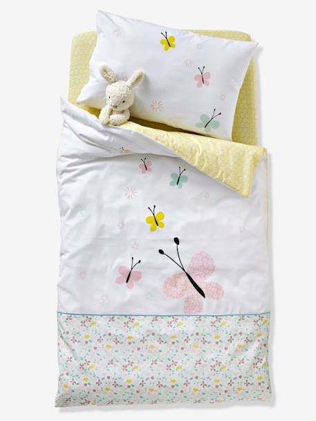 Baby Pillowcase, Butterflies and Flowers Theme WHITE LIGHT SOLID WITH DESIGN - vertbaudet enfant