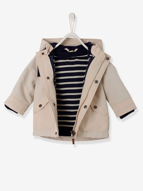 Baby Boys' 3-in-1 Parka & Detachable Jacket BEIGE MEDIUM SOLID+BLUE MEDIUM STRIPED - vertbaudet enfant