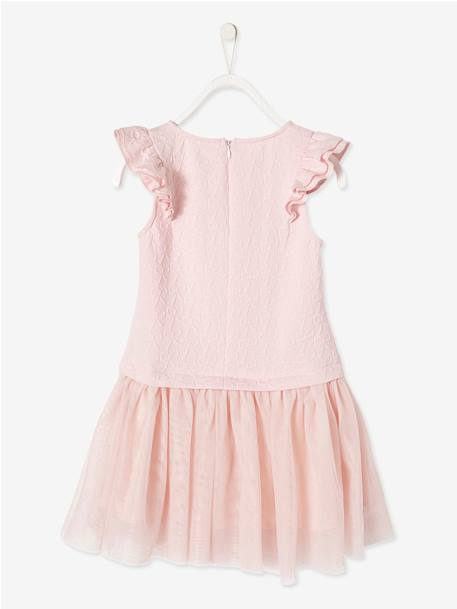 Girls' Dual Fabric 2-in-1 Dress BLUE DARK SOLID+PINK LIGHT SOLID - vertbaudet enfant