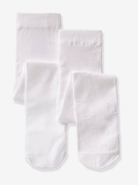Lot de 2 collants bébé fille assortis BLANC A POIS+ROSE PALE+Blanc/multicolore - vertbaudet enfant