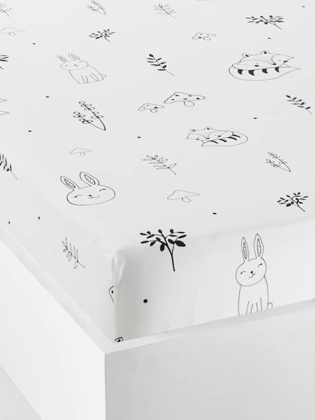 Baby Fitted Sheet, Magic Forest Theme WHITE LIGHT ALL OVER PRINTED - vertbaudet enfant