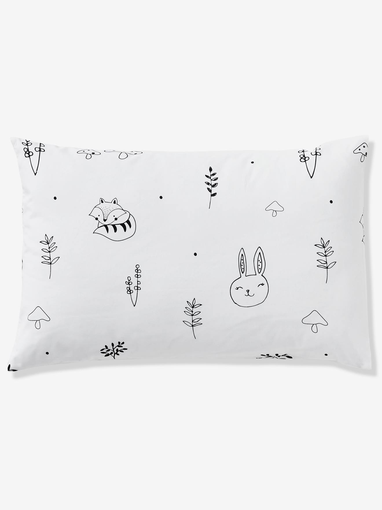 delicate decorative labels.htm baby pillowcase  magic forest theme white light solid with design  magic forest theme white light solid