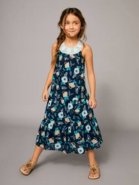 Vertbaudet Sale-Girls-Long Printed Dress with Macrame Neckline