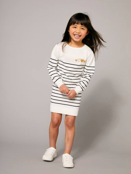 Girls' Knitted Dress PINK DARK STRIPED+WHITE LIGHT STRIPED - vertbaudet enfant