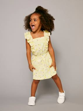 Vertbaudet Sale-Girls-Girls' Dress with Flowery Frill