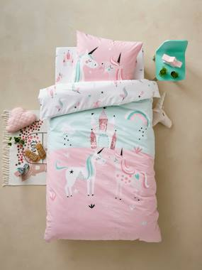 Bedding & Decor-Girls' Duvet Cover + Pillowcase, Magic Unicorns Theme