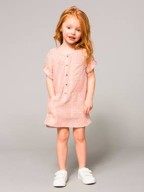 Vertbaudet Collection-Girls-Girls' Striped Dress with Buttons