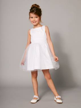 haut-Girls' Sateen & Tulle Occasion Dress