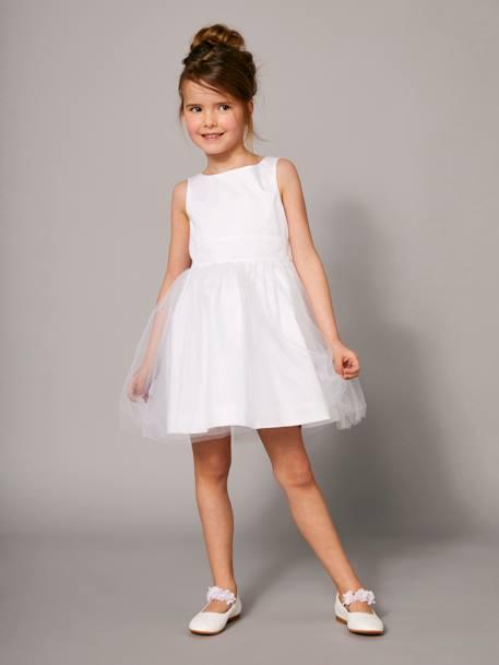 1937782c08ca0a Robe de cérémonie fille en satin et tulle - blanc, Fille