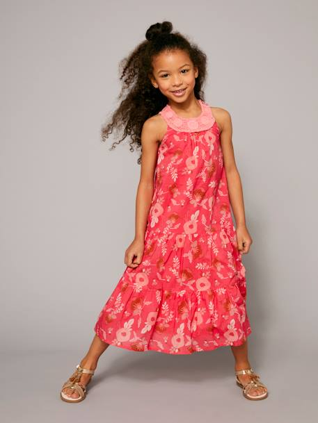 Long Printed Dress with Macrame Neckline BLUE DARK ALL OVER PRINTED+RED LIGHT ALL OVER PRINTED - vertbaudet enfant