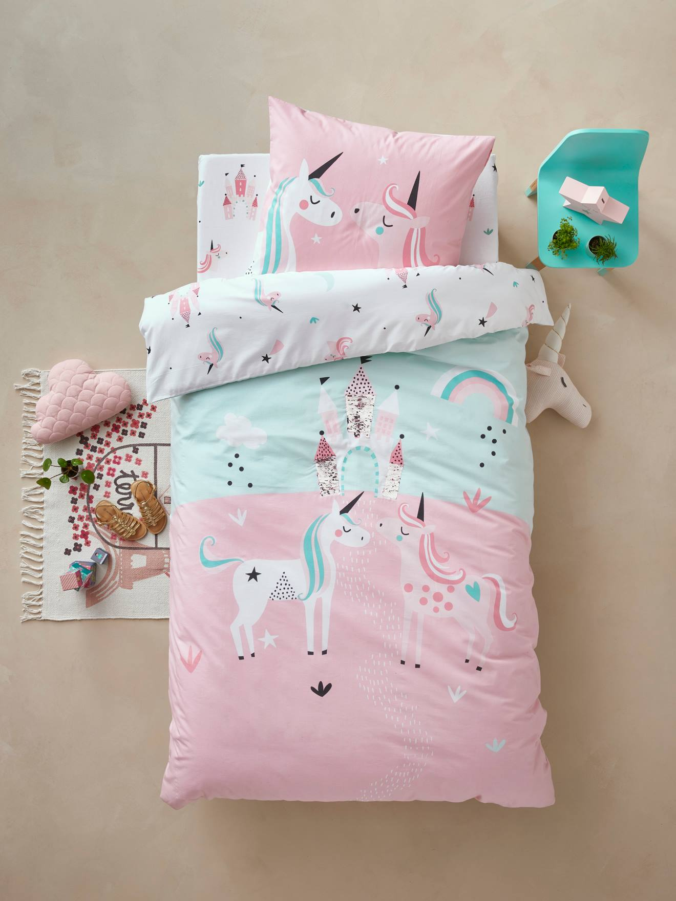 Girlsu0027 Duvet Cover + Pillowcase, Magic Unicorns Theme BLUE LIGHT SOLID WITH  DESIGN
