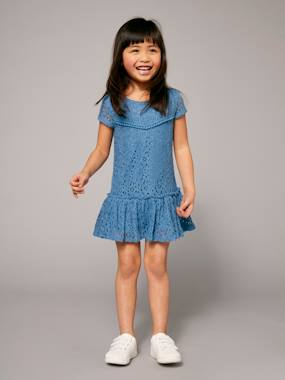 Vertbaudet Collection-Girls Lined Lace Dress