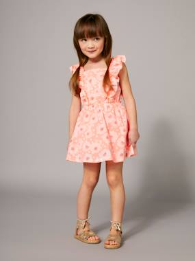 Vertbaudet Collection-Girls' Dress with Flowery Frill