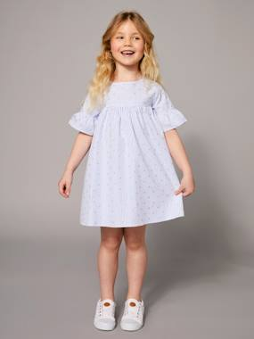 Vertbaudet Collection-Girls-Girls' Dress with Stripes and Iridescent Motifs