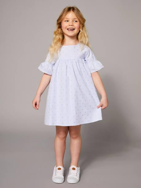 Girls' Dress with Stripes and Iridescent Motifs BLUE MEDIUM ALL OVER PRINTED - vertbaudet enfant