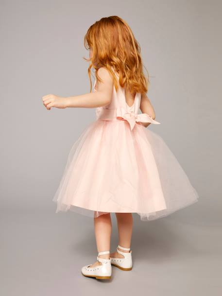 Girls' Sateen & Tulle Occasion Dress Powder beige+White - vertbaudet enfant