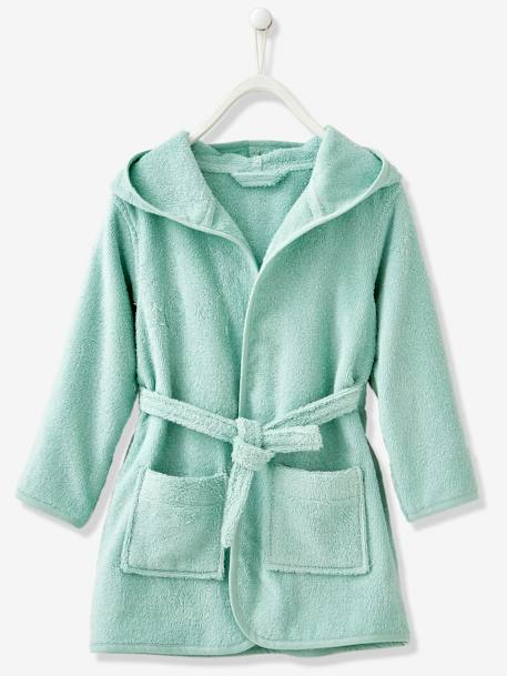 Child's Hooded Bathrobe Beige+Denim blue+Green+GREEN LIGHT SOLID+Grey blue+Light violet+Pink+PINK MEDIUM SOLID - vertbaudet enfant
