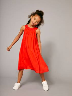 Party collection-Girls-Girls' Long Dress, Neckline with Adornment