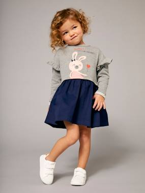 Vertbaudet Collection-Girls-Girls' Dual Fabric Dress, Fleece and Twill