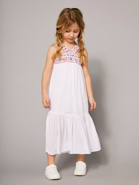 Girls' Long Dress, in Crepon PINK LIGHT SOLID WITH DESIGN+WHITE LIGHT SOLID WITH DESIGN - vertbaudet enfant