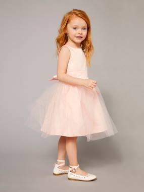 Vertbaudet Collection-Girls' Sateen & Tulle Occasion Dress