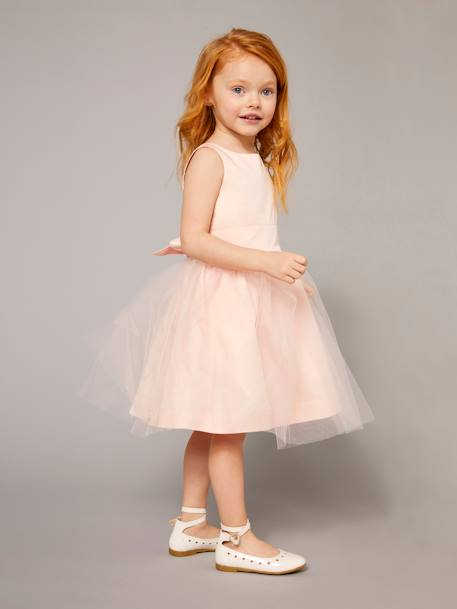 Girls' Sateen & Tulle Occasion Dress Iridescent grey+Powder beige+White - vertbaudet enfant