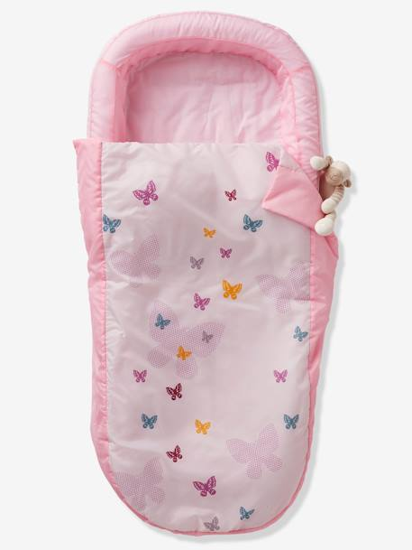 Readybed® Sleeping Bag with Integrated Mattress and Headboard, Flight Theme PINK LIGHT SOLID WITH DESIGN - vertbaudet enfant