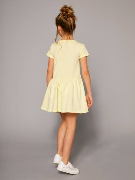 Girls' Short-Sleeved Dress YELLOW LIGHT SOLID WITH DESIGN - vertbaudet enfant