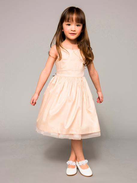 Girls' Reversible Dress in Sateen and Tulle WHITE LIGHT SOLID - vertbaudet enfant