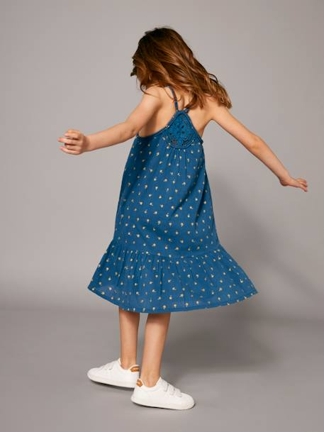 Long Dress with Ruffle BLUE MEDIUM ALL OVER PRINTED+ORANGE BRIGHT ALL OVER PRINTED - vertbaudet enfant