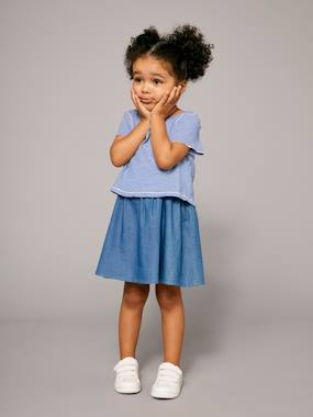 New collection-Girls' Reversible Dual Fabric Dress