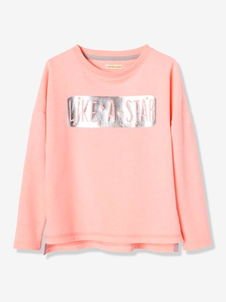 Sweat sport fille inscription brillante ORANGE FUSHIA - vertbaudet enfant