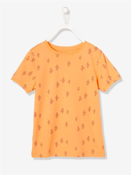 Boys' T-Shirt with Cactus Print ORANGE MEDIUM ALL OVER PRINTED - vertbaudet enfant