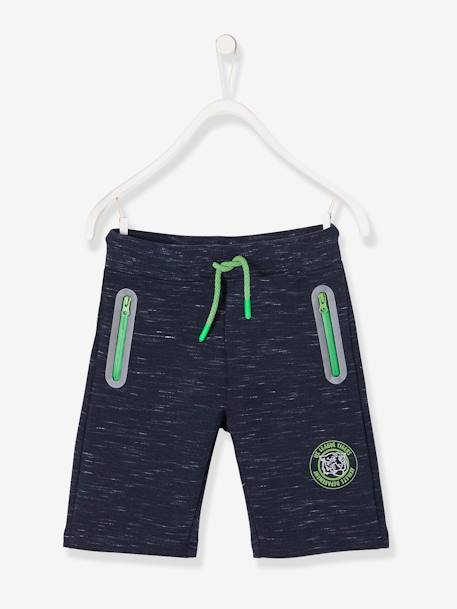 Boys' Sports Bermuda Shorts, in Fleece BLUE DARK SOLID - vertbaudet enfant