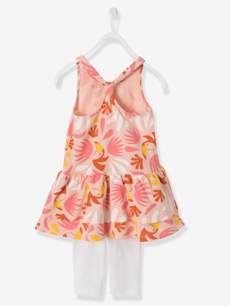Ensemble fille robe + legging Bleu rayé+Orange vif imprimé+Rose imprimé - vertbaudet enfant