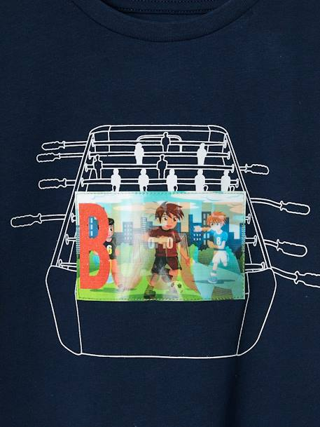 Boys' Sports T-Shirt, Hologram-Effect Football Motif BLUE DARK SOLID WITH DESIGN+GREY MEDIUM MIXED COLOR+RED DARK SOLID WITH DESIGN - vertbaudet enfant