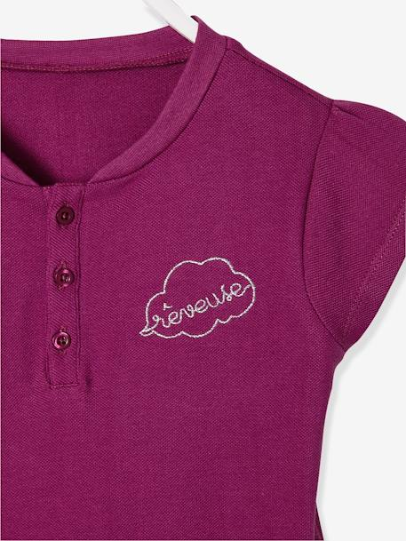 Short-Sleeved Polo Shirt for Girls BLUE DARK SOLID WITH DESIGN+ORANGE BRIGHT SOLID WITH DESIG+PINK DARK SOLID WITH DESIGN+YELLOW MEDIUM SOLID WTH DESIGN - vertbaudet enfant