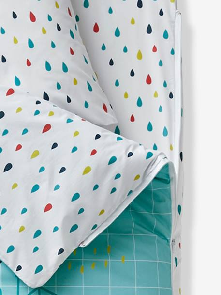 An 'easy to close' ready-for-bed set without PIN PON duvet GREEN LIGHT ALL OVER PRINTED - vertbaudet enfant