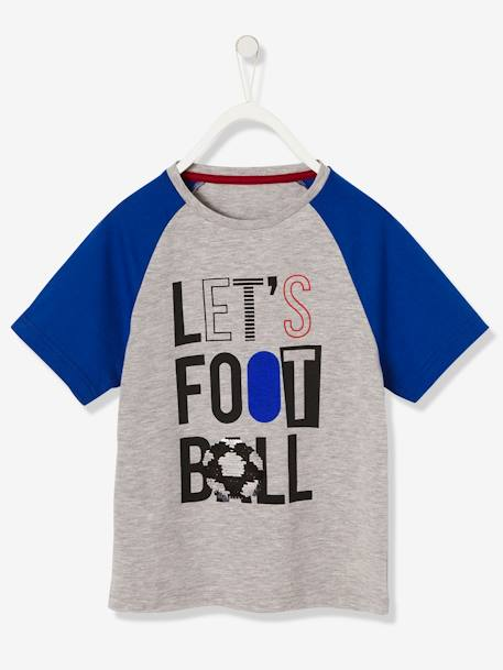 2018 World Cup T-Shirt with Reversible Sequins GREY LIGHT MIXED COLOR - vertbaudet enfant