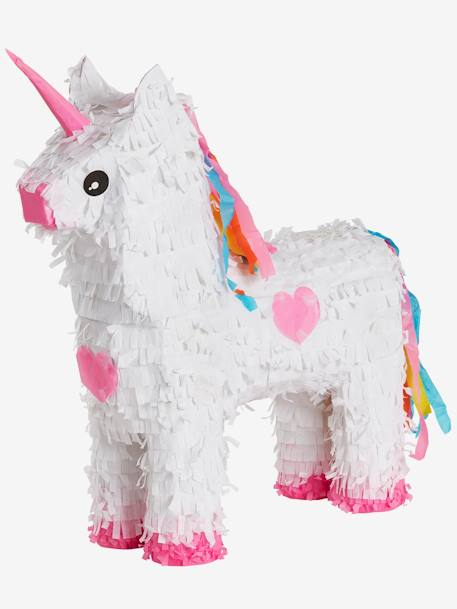 Rainbow Unicorn Piñata WHITE BRIGHT SOLID WITH DESIGN - vertbaudet enfant