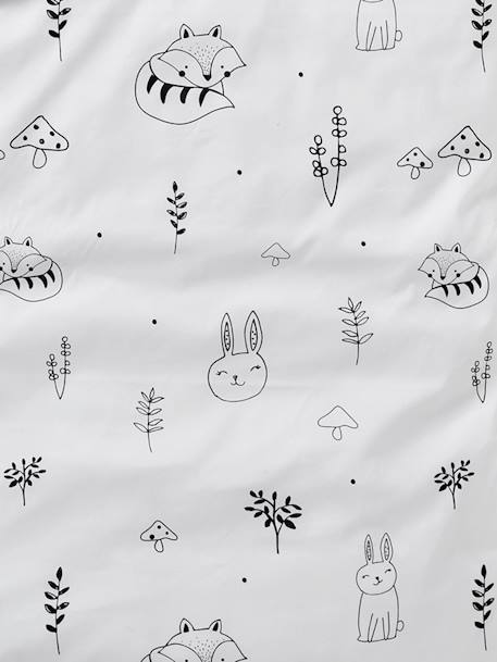 Baby Pillowcase, Magic Forest Theme WHITE LIGHT SOLID WITH DESIGN - vertbaudet enfant