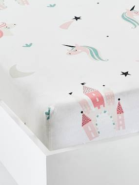 Vertbaudet Sale-Girls' Fitted Sheet, Magic Unicorns Motif