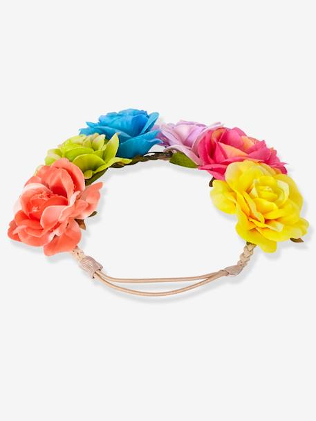 Girls' Headband with Colourful Flowers PINK MEDIUM SOLID - vertbaudet enfant
