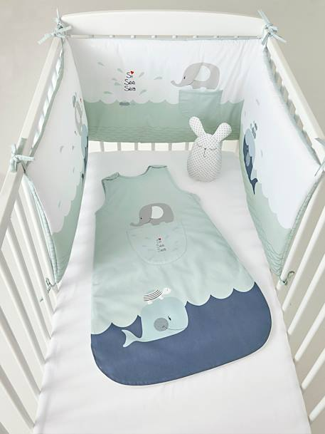 Sleeveless Baby Sleep Bag, Whale Theme BLUE LIGHT SOLID WITH DESIGN - vertbaudet enfant