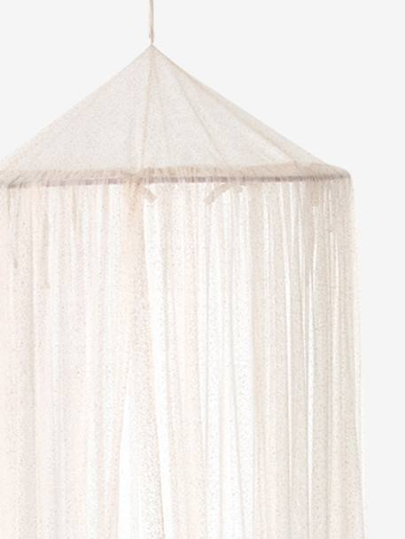 Canopy Curtain with Glitter PINK LIGHT SOLID WITH DESIGN - vertbaudet enfant
