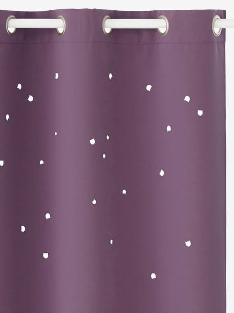 Blackout Curtain with Cat Head Cutouts PURPLE DARK SOLID WITH DESIGN - vertbaudet enfant